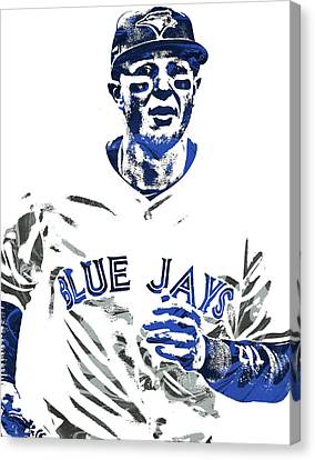 Troy Tulowitzki Toronto Blue Jays Pixel Art Canvas Print by Joe Hamilton
