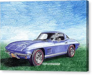 Tru Blu 1967 Corvette Stingray Canvas Print