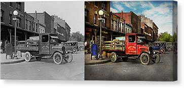 Canvas Print featuring the photograph Truck - Home Dressed Poultry 1926 - Side By Side by Mike Savad