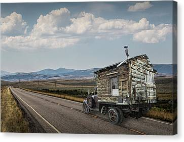 Log Cabins Canvas Print - Truck Motor Home Traveling On The Road by Randall Nyhof