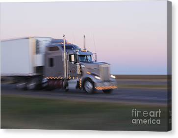 Truck On Texas Highway 287 At Sunrise Canvas Print by Jeremy Woodhouse