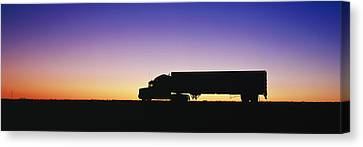 Truck Parked On Freeway At Sunrise Canvas Print by Jeremy Woodhouse