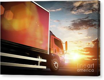 Fast Shipping Canvas Print - Truck Speeding On The Highway. Transportation by Michal Bednarek