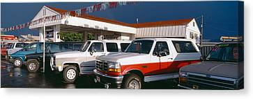Trucks In Used Car Lot, St. George, Utah Canvas Print by Panoramic Images