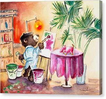Truffle Mcfurry Learning Painiting Canvas Print by Miki De Goodaboom