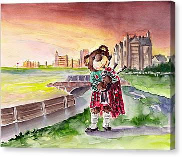 Truffle Mcfurry Playing The Bagpipes At St Andrews Canvas Print by Miki De Goodaboom