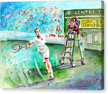 Truffle Mcfurry Playing The Bagpipes For Andy Murray At Wimbledon Canvas Print by Miki De Goodaboom