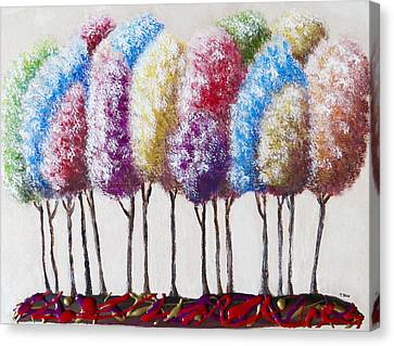 Canvas Print featuring the painting Truffula Forest by Teresa Wing