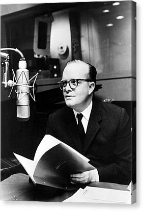Truman Capote In Studio For A Christmas Canvas Print by Everett