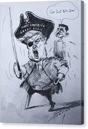 Trump, Short Fingers Pirate With Ryan, The Bird  Canvas Print by Ylli Haruni