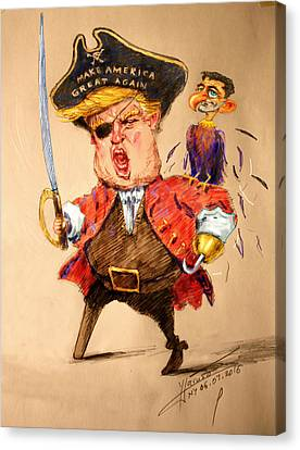 Trump, The Short Fingers Pirate With Ryan, The Bird Canvas Print