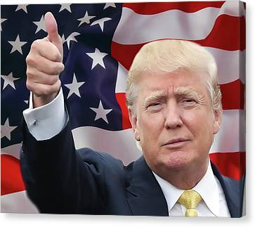 Corrected Canvas Print - Trump Thumbs Up 2016 by Daniel Hagerman