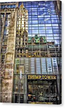 Canvas Print featuring the photograph Trump Tower With Reflections by Walt Foegelle