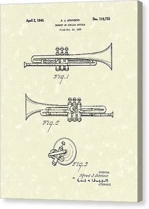 Trumpet 1940 Patent Art Canvas Print by Prior Art Design