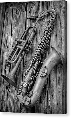 Trumpet And Sax Canvas Print by Garry Gay