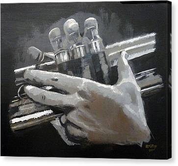 Canvas Print featuring the painting Trumpet Hands by Richard Le Page