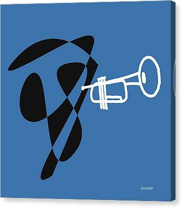 Trumpet In Blue Canvas Print by David Bridburg