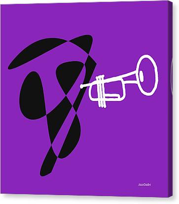 Trumpet In Purple Canvas Print by David Bridburg