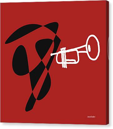 Trumpet In Orange Red Canvas Print by David Bridburg