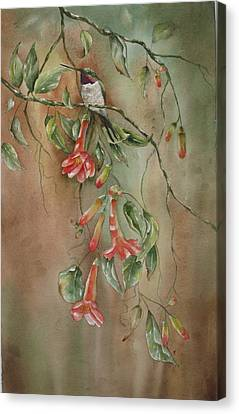 Canvas Print featuring the painting Trumpet Nectar by Mary McCullah