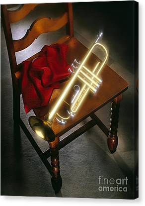 Trumpet On Chair Canvas Print by Tony Cordoza