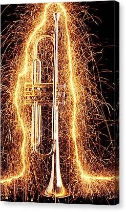 Trumpet Outlined With Sparks Canvas Print by Garry Gay