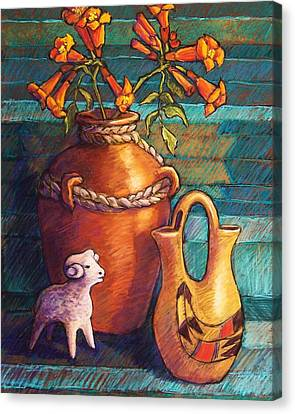 Trumpet Vines And Pottery Canvas Print by Candy Mayer