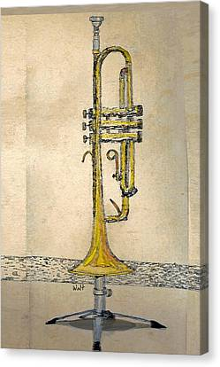 Canvas Print featuring the digital art Trumpet by Walter Chamberlain