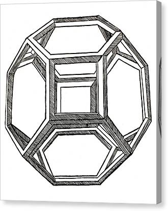 Truncated Octahedron With Open Faces Canvas Print by Leonardo Da Vinci