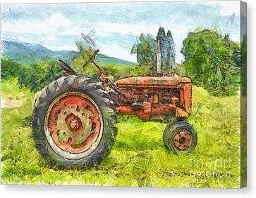 Rural Landscapes Canvas Print - Trusty Old Red Tractor Pencil by Edward Fielding