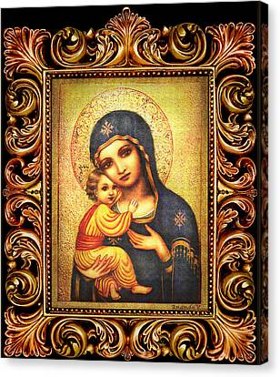Tryptichon Madonna With Frame Canvas Print by Ananda Vdovic