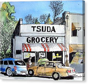 Canvas Print featuring the painting Tsuda Grocery by Terry Banderas