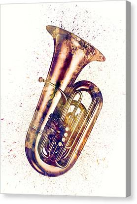 Tuba Abstract Watercolor Canvas Print by Michael Tompsett