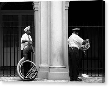 Tuba Player And Drummer Canvas Print by Todd Fox