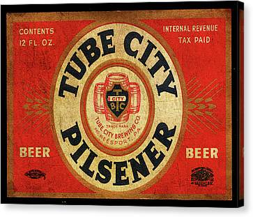 Canvas Print featuring the digital art Tube City Pilsner by Greg Sharpe