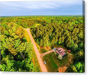 Tucked Away 2 - Aerial Rural Landscape Canvas Print by Barry Jones