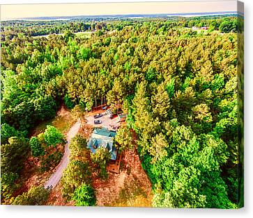 Tucked Away - Aerial Wooded Landscape Canvas Print by Barry Jones