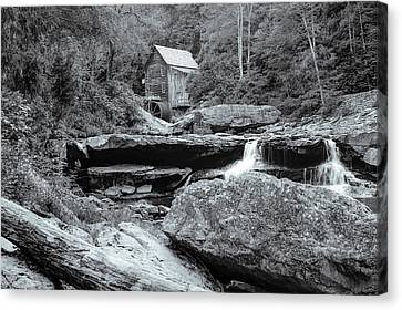 Tucked Away - Black And White Old Mill Photography Canvas Print by Gregory Ballos