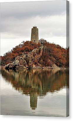 Canvas Print featuring the photograph Tucker Tower And Reflection by Sheila Brown