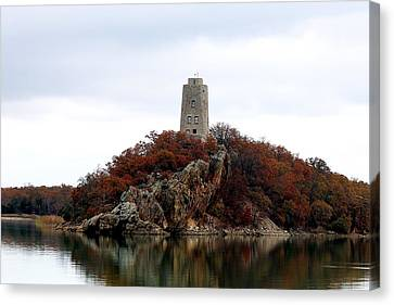 Canvas Print featuring the photograph Tucker Tower In Fall by Sheila Brown