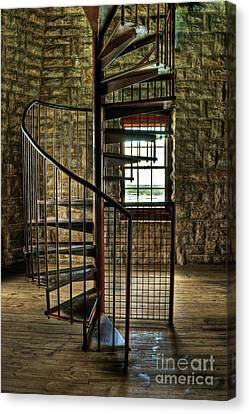 Canvas Print featuring the photograph Tucker's Tower Spiral Staircase by Tamyra Ayles