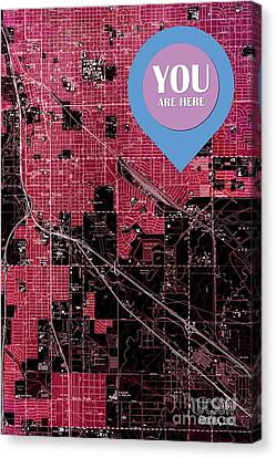 Tucson Arizona 1957 Red Old Map You Are Here Canvas Print
