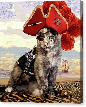 Teuti The Pirate - Cats In Hats Series Canvas Print by Michele Avanti