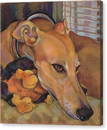 Rescued Greyhound Canvas Print - Greyhound by Jane Oriel