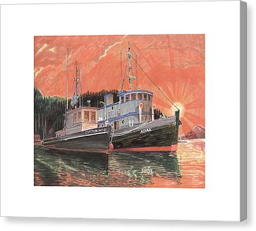 Tug Boats Anchored In Red Sky Canvas Print