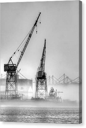 Tug With Cranes Canvas Print