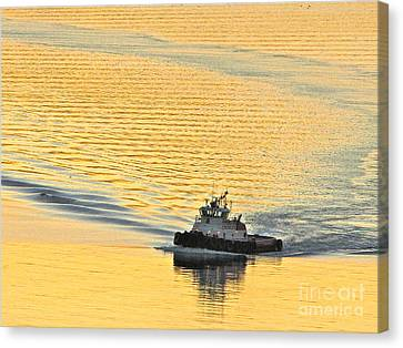 Tugboat At Sunset Canvas Print