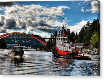 Tugboat At The Rainbow Bridge Canvas Print by David Patterson