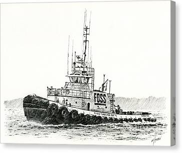 Tugboat Daniel Foss Heading Out Canvas Print by James Williamson