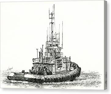 Tugboat Daniel Foss Canvas Print by James Williamson